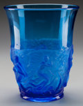 Art Glass:Other , A Verlys Electric Blue Glass Mermaid and Serpent Vase, circa 1925.Marks: VERLYS. 10 inches high (25.4 cm). ...