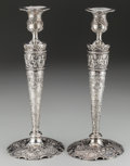 Silver Holloware, Continental:Holloware, A Pair of German Silver Candlesticks, Hanau, Germany, 19th century.Marks: (crown), B, 800, Germany. 10-3/4 inches high ...(Total: 2 Items)