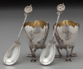 Silver Holloware, American:Other , A Pair of Gorham Partial Gilt Silver Footed Egg-Form Egg Cups withBird's Nest Pattern Spoons, Providence, Rhode... (Total: 4Items)