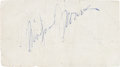 Movie/TV Memorabilia:Autographs and Signed Items, A Marilyn Monroe Twice-Signed Scrap of Paper, Circa 1950s....