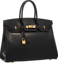"Luxury Accessories:Bags, Hermes 35cm Black Calf Box Leather Birkin Bag with Gold Hardware.Very Good to Excellent Condition . 14"" Width x 10""H..."
