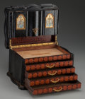 Decorative Arts, French:Other , A Napoleon III Ebonized Wood, Parquetry and Eglomisé Humidor, 19thcentury. 8-1/2 inches high x 12 inches deep (21.6 x 30.5 ...