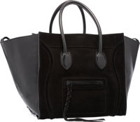 """Celine Black Suede & Patent Leather Phantom Luggage Tote Bag Very Good Condition 15"""" Width x 10"""