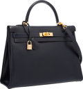 """Luxury Accessories:Bags, Hermes 35cm Blue Marine Calf Box Leather Retourne Kelly Bag withGold Hardware. Very Good to Excellent Condition. 14""""..."""