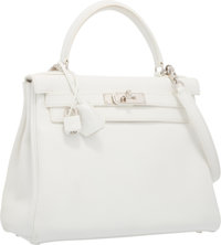 Hermes 28cm White Togo Leather Retourne Kelly Bag with Palladium Hardware Very Good to Excellent Condition