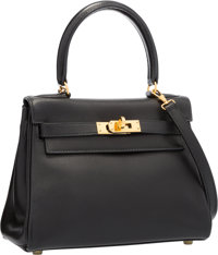Hermes 20cm Black Gulliver Leather Retourne Mini Kelly Bag with Gold Hardware Very Good Condition