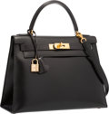 """Luxury Accessories:Bags, Hermes 28cm Black Calf Box Leather Sellier Kelly Bag with Gold Hardware. Very Good to Excellent Condition . 11"""" Width ..."""