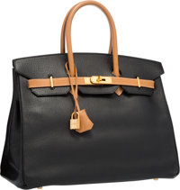Hermes Special Order 35cm Black Ardennes & Vache Naturelle Leather Birkin Bag with Gold Hardware Very Good Cond...