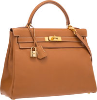 Hermes 32cm Gold Gulliver Leather Retourne Kelly Bag with Gold Hardware Very Good to Excellent Condition