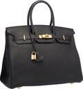 "Luxury Accessories:Bags, Hermes 35cm Black Togo Leather Birkin Bag with Gold Hardware.Very Good Condition. 14"" Width x 10"" Height x 7""Depth..."