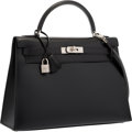 Luxury Accessories:Bags, Hermes 32cm Black Calf Box Leather Sellier Kelly Bag with BrushedPalladium Hardware . Very Good to Excellent Condition ...