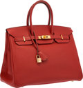 "Luxury Accessories:Bags, Hermes 35cm Vermillion Togo Leather Birkin Bag with Gold Hardware.Very Good Condition. 14"" Width x 10"" Height x 7""De..."
