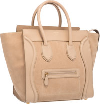 "Celine Beige Suede Luggage Tote Bag Very Good to Excellent Condition 12"" Width x 11"" Height x 7"
