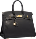 "Luxury Accessories:Bags, Hermes 35cm Black Veau Graine Lisse Leather Birkin Bag with GoldHardware . Very Good to Excellent Condition . 14""Wid..."