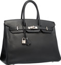 "Luxury Accessories:Bags, Hermes 35cm Black Epsom Leather Birkin Bag with Palladium Hardware . Very Good Condition . 14"" Width x 10"" Height x 7""..."