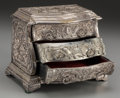 Decorative Arts, French:Other , A French Silvered Bronze Table Commode, 19th century. 7-1/2 incheshigh x 9 inches wide (19.1 x 22.9 cm). ...