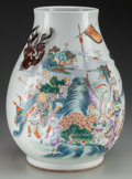 Asian:Chinese, A Chinese Polychrome Porcelain Amphora with Stag Handles. 19 incheshigh (48.3 cm). ...