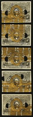 Milton 2E25F.2 25¢ Second Issue Essay (Experimental) Matching Block of Five