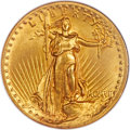 High Relief Double Eagles, 1907 $20 High Relief, Flat Rim MS64 NGC....
