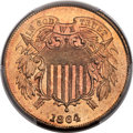 Two Cent Pieces, 1864 2C Large Motto MS67 Red PCGS....