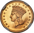Proof Gold Dollars, 1861 G$1 PR66 NGC. CAC....