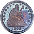 Seated Quarters, 1849 25C MS65 PCGS. CAC. Briggs 1-A....