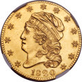 Early Half Eagles, 1820 $5 Curl Base 2, Large Letters, BD-5, R.6 -- Improperly Cleaned -- NGC Details. Unc....