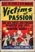 "Movie Posters:Exploitation, Race Suicide (Willis Kent Productions, 1937). One Sheet (28"" X 42""). Exploitation. Alternate Title: Victims of Passion...."