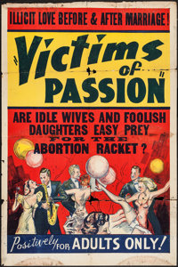 "Race Suicide (Willis Kent Productions, 1937). One Sheet (28"" X 42""). Exploitation. Alternate Title: Victims of..."