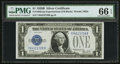 Small Size:Silver Certificates, Fr. 1602 $1 1928B Silver Certificate. Y-B Experimental Block. PMG Gem Uncirculated 66 EPQ.. ...