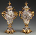 Decorative Arts, French:Other , A Pair of Thiebaut Frères Louis XVI-Style Variegated Marble Urnswith Gilt Bronze Mounts, Paris, France, late 19th century. ...(Total: 2 Items)