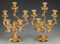 Decorative Arts, French:Lamps & Lighting, A Pair of Louis XV-Style Gilt Bronze Five-Light Candelabras, circa1860. 20-1/4 inches high x 14-1/4 inches wide x 11-1/2 in...(Total: 2 Items)