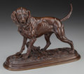 Sculpture, After Paul-Édouard Delabrièrre (French, 1829-1912). The Happy Hound. Bronze with brown patina. 7-1/4 inches (18.4 cm) hi...