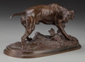 Sculpture, After Pierre Jules Mene (French, 1810-1879). Chien Braque a la Feuille. Bronze with brown patina. 5 inches (12.7 cm) hig...