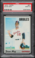 Baseball Cards:Singles (1970-Now), 1970 Topps Dave May #81 PSA Mint 9....