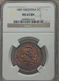 Argentina, Argentina: Republic 2 Centavos 1889 MS63 Brown NGC,...