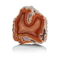 Lapidary Art:Carvings, DRYHEAD AGATE. Dryhead Agate Mine. Carbon County. Montana, USA.3.46 x 3.14 x 0.42 inches (8.8 x 8 x 1.07 cm). ...