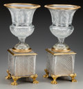 Other:Contemporary, A Pair of Baccarat-Style Cut-Glass and Gilt Bronze Urns, 20thcentury. 20-1/2 inches high (52.1 cm). ... (Total: 2 Items)