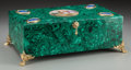 Ceramics & Porcelain, Russian, A Malachite, Gilt Bronze, Porcelain and Lapis Lazuli Box, 20thcentury. 6 inches high x 15-3/4 inches wide x 10 inches deep ...