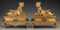 Decorative Arts, French:Other , A Pair of Napoleon III Enameled Gilt Bronze Sphinx Chenets, 19thcentury. 14 inches high x 14-1/2 inches wide (35.6 x 36.8 c...(Total: 2 Items)