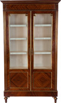 Furniture : French, A French Partial Gilt Mahogany and Kingwood Vitrine, circa 1900. 85 inches high x 45 inches wide x 15-1/2 inches deep (215.9...