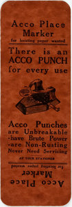 Miscellaneous:Ephemera, [Ephemera]. [Advertising-Promotional]. Acco Promotional PlaceMarker. Printed card, undated. ...