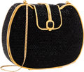 "Luxury Accessories:Bags, Judith Leiber Full Bead Black Crystal Snap Top Minaudiere EveningBag. Very Good to Excellent Condition. 6"" Width x5""..."