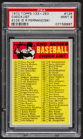 Baseball Cards:Singles (1970-Now), 1970 Topps Checklist #128 (R Perranoski) PSA Mint 9....