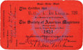 Movie/TV Memorabilia:Autographs and Signed Items, A Harry Houdini Signed 'Society of American Magicians' Membership Card, 1921....