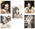 Movie/TV Memorabilia:Autographs and Signed Items, A Joan Crawford Group of Signed Black and White Photographs, Circa1930s-1950s....