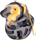 """Luxury Accessories:Bags, Judith Leiber Full Bead Silver & Black Crystal See No EvilMonkey Minaudiere Evening Bag . Excellent Condition. 4""""Wid..."""