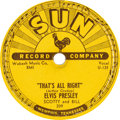 "Music Memorabilia:Recordings, Elvis Presley ""That's All Right/Blue Moon of Kentucky"" 78 Single(Sun 209, 1954)...."