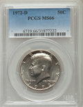 Kennedy Half Dollars, 1972-D 50C MS66 PCGS. PCGS Population (361/85). NGC Census:(169/36). Mintage: 141,890,000. Numismedia Wsl. Price for probl...