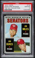 Baseball Cards:Singles (1970-Now), 1970 Topps Senators Rookies #154 PSA Gem Mint 10 - Pop One....